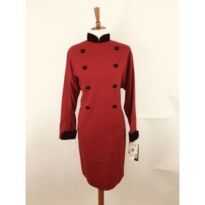 Vintage Jones New York Red Wool Sheath Dress